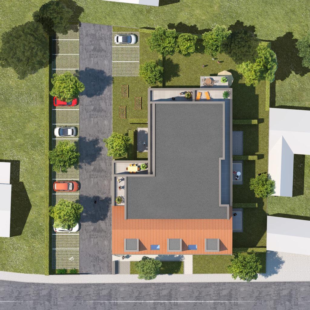 perspective 3d architecture commercialisation logements premesques plan masse