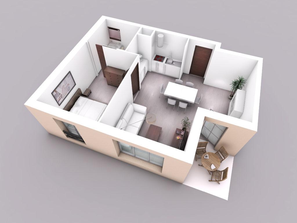 perspective 3d architecture Logements Berck vue interieure